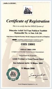 OHSAS 18001-1999 İş Sağlığı ve Güvenliği Yönetim Sistemi